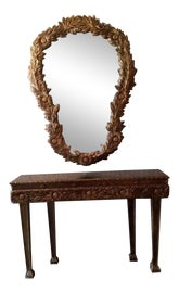 Image of French Console Table With Mirror Set