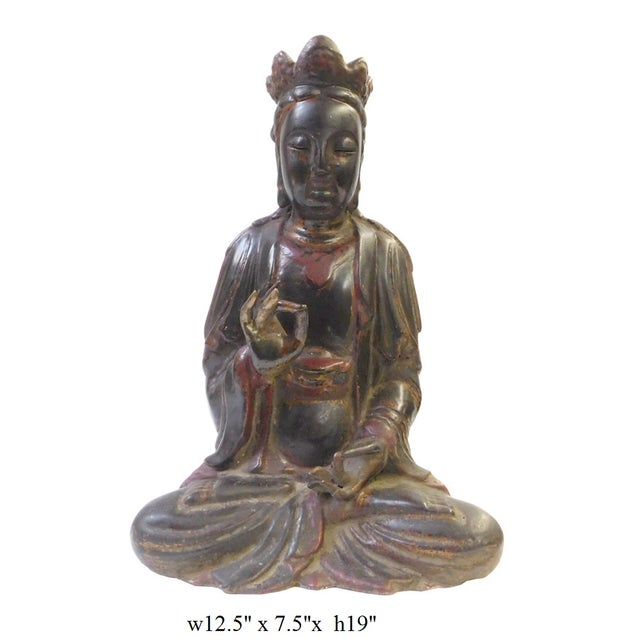 Red Black Lacquer Wood Sitting Kwan Yin Figure - Image 7 of 7