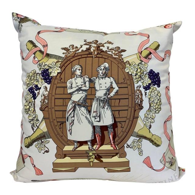 """Hermès of Paris """"A La Gloire De La Cuisine Française"""" Silk Scarf Pillow For Sale"""