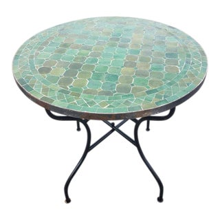Moroccan Tamegrout Green Mosaic Table For Sale