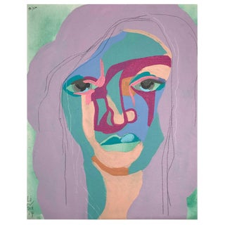"""Contemporary Abstract Portrait Painting """"This Is the One She Wanted"""" - Framed For Sale"""