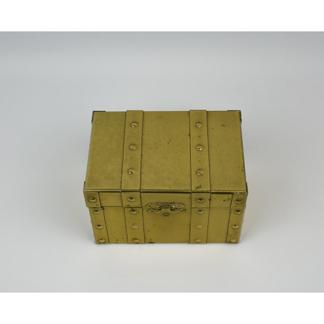 Red Sarreid Style Miniature Tabletop Brass Trunk For Sale - Image 8 of 12