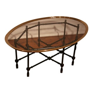 Chippendale Baker Designs Glass and Brass Bamboo Coffee Table For Sale