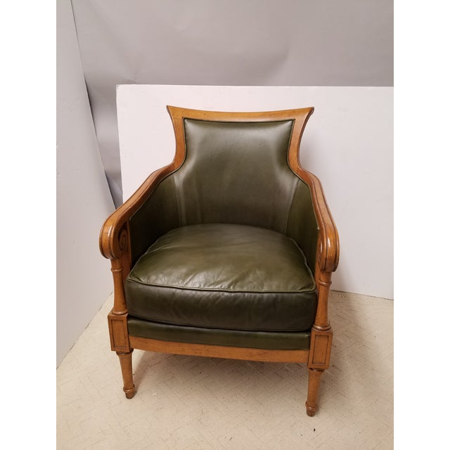Neoclassical Style Olive Green Leather and Cane Fruitwood Armchair by Lexington Furniture - Image 2 of 7
