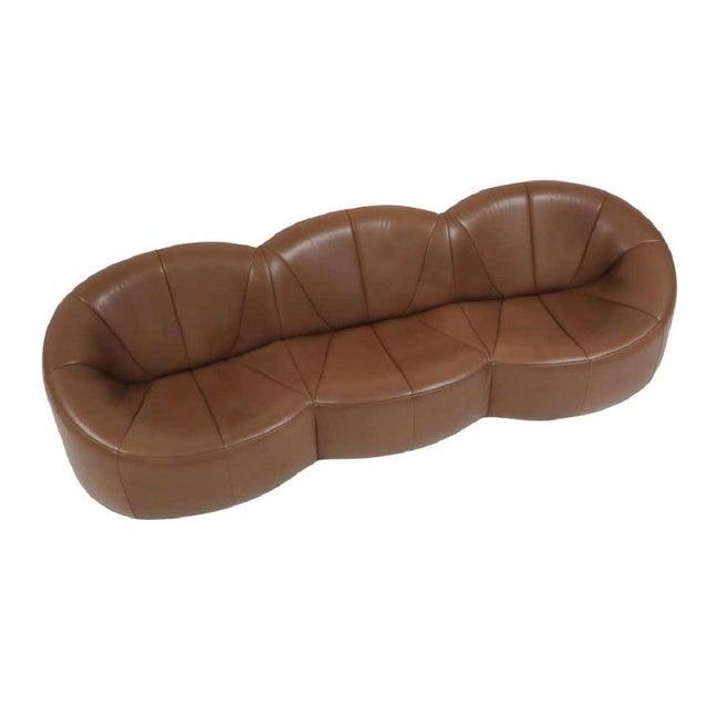 2000 - 2009 Pierre Paulin Leather Pumpkin Sofa For Sale - Image 5 of 7