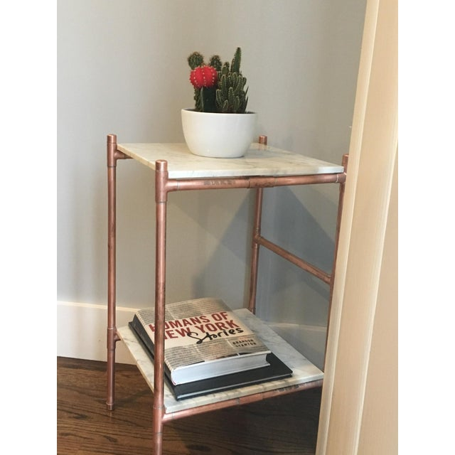 Handmade Copper & Marble Side Table - Image 4 of 6