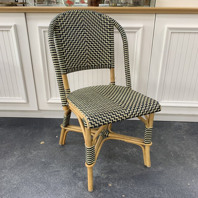 White Vintage Leather Woven Bistro Chair (Navy&White) For Sale - Image 8 of 8