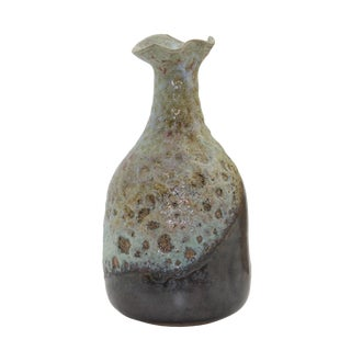 Contemporary Artist Handmade Freelance Rustic Ceramic Odd Shape Vase For Sale