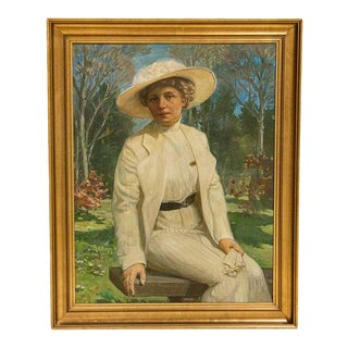 Large Original Oil on Canvas Portrait of Lady Sitting on Park Bench, Signed by Carl Forup, Denmark For Sale