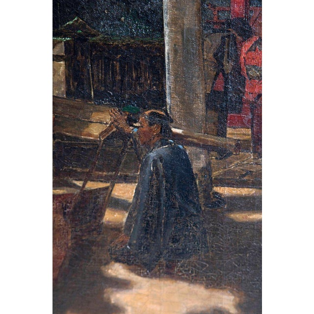 "Late 19th Century Francis Neydhart Oil on Canvas ""A Courtyard Ceremony, Nikko"" For Sale - Image 9 of 13"