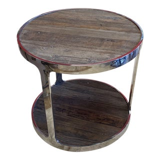 Reclaimed Wood and Polished Chrome Accent Table For Sale