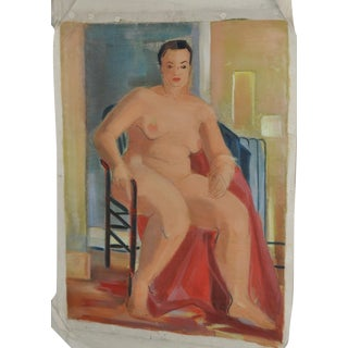 Vintage 1940's Figurative Nude Painting For Sale