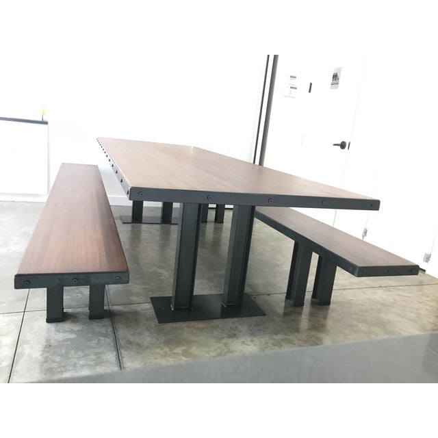 Modern Wood Table & Benches For Sale - Image 13 of 13