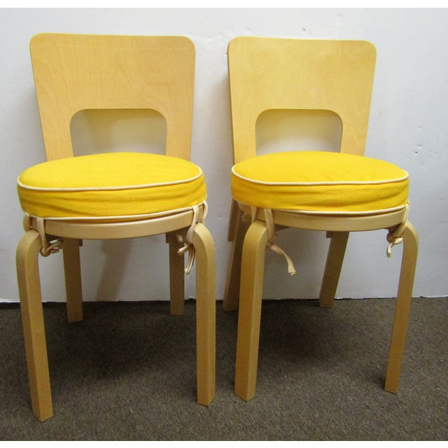 Yellow Artek Alvar Aalto 66 Chairs- A Pair For Sale - Image 8 of 8