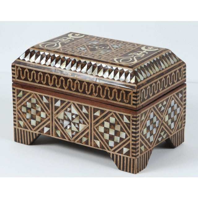 Wood Large Mother-Of-Pearl Inlaid Jewelry Box For Sale - Image 7 of 7