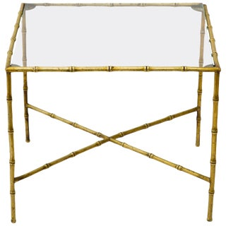 Italian Brass Faux Bamboo Accent Table For Sale