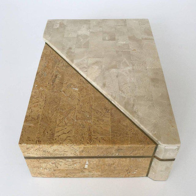Mid-Century Modern Maitland-Smith Asymmetrical Tessellated Stone Brass Box For Sale - Image 3 of 10