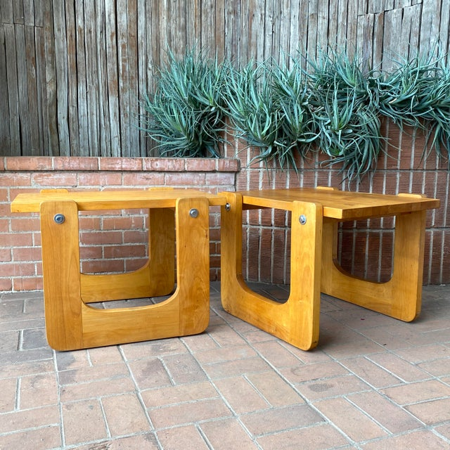 Tan 1970s Studio Craft Pine Side Tables - a Pair For Sale - Image 8 of 8