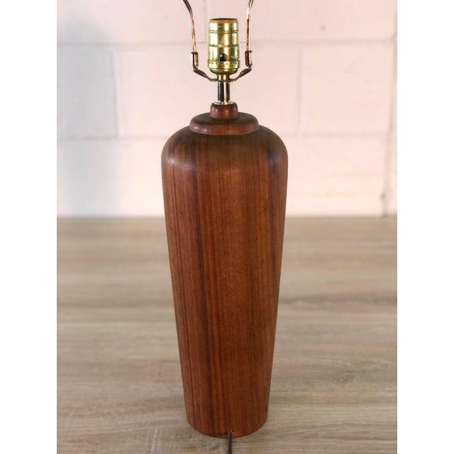 1970s Vintage Teak Wood Scandinavian Style Table Lamp For Sale - Image 5 of 8