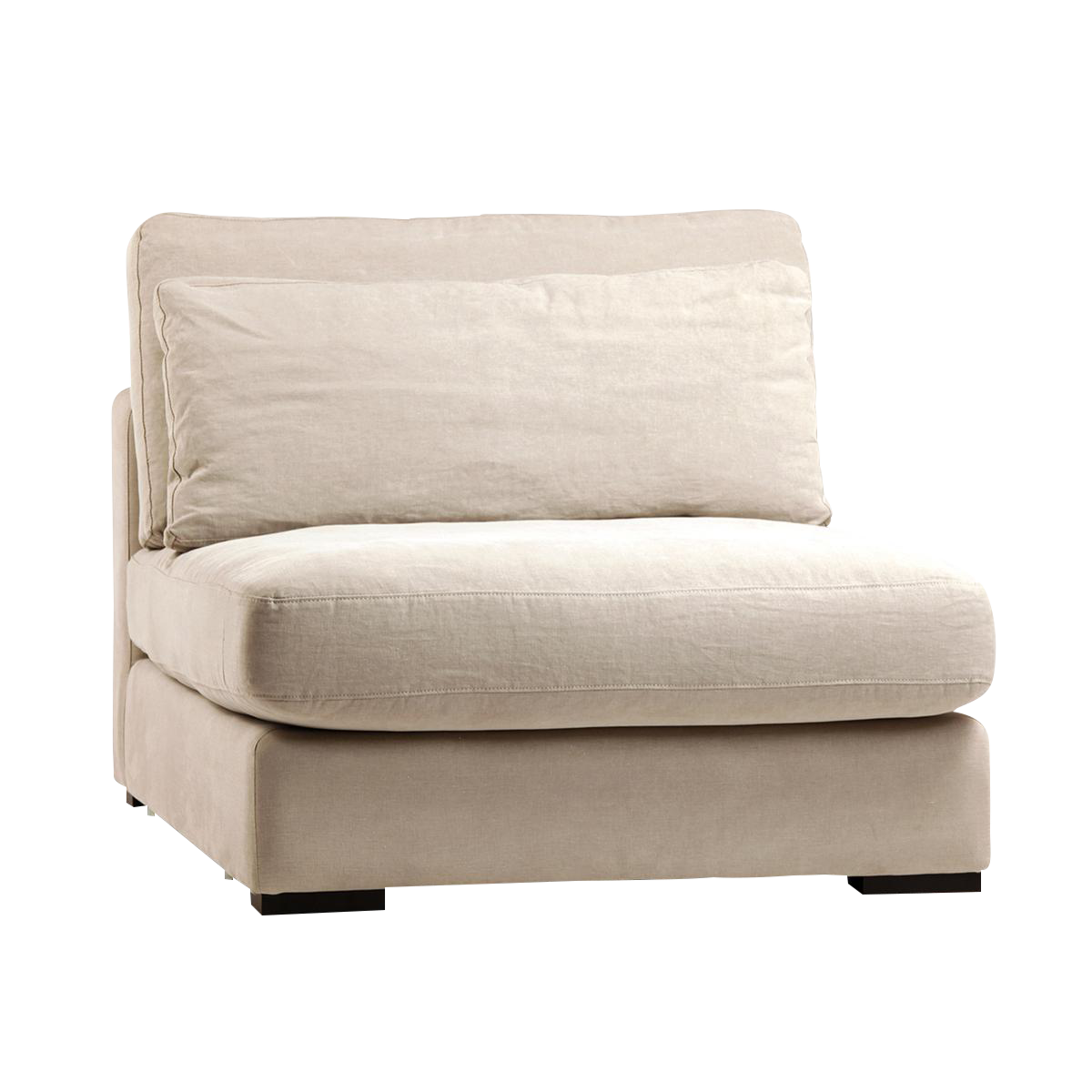 Raw Linen Sectional Sofa (Center)   Image 1 Of 3