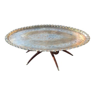Vintage Brass Oval Platter Table For Sale