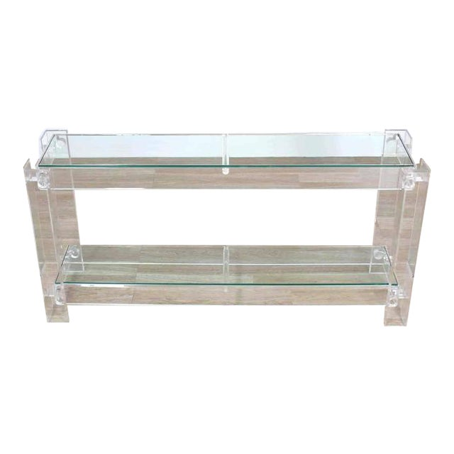 Three-Tier Long Lucite Console Table For Sale