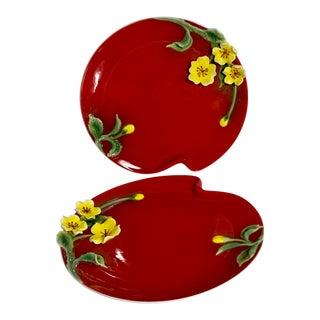 Red Sculpted Porcelain Dessert Plates - A Pair For Sale