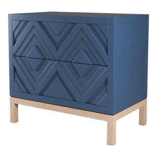 Susana Side Table - Newburyport Blue, Natural Cerused Oak For Sale
