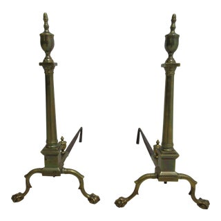 1940s Vintage Firedog Brass Andirons - A Pair For Sale