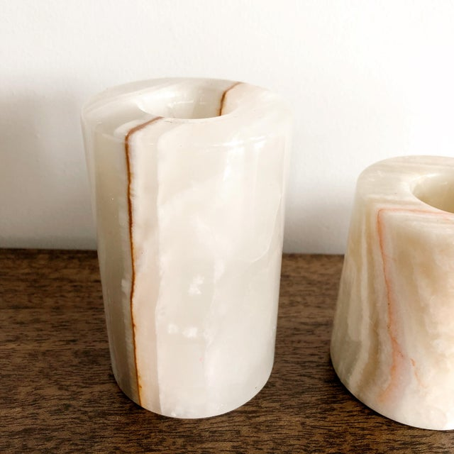 1960s Onyx Pakistani Candlestick Holders, Set of 3 For Sale - Image 5 of 11