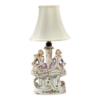Nice Small Vintage German Porcelain Table Lamp of Two Dancing Girls For Sale