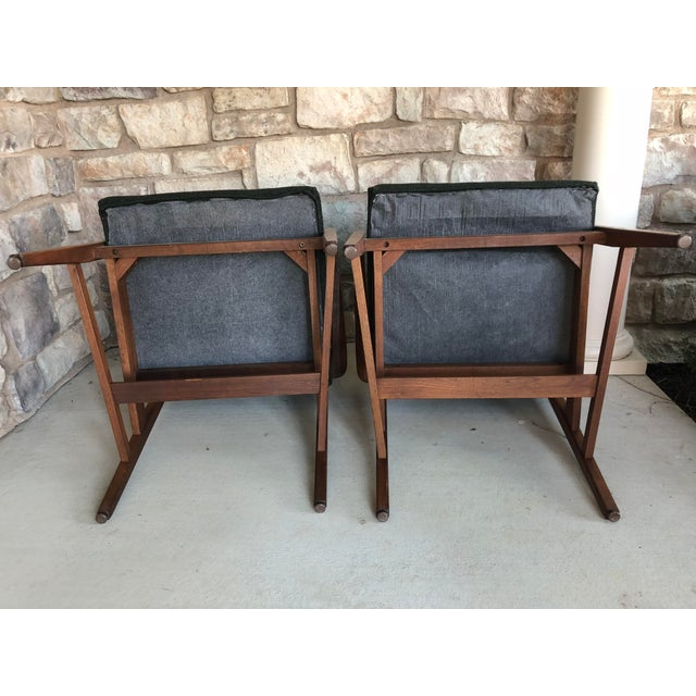 Green Mid Century Danish Modern Upholstered Arm Chairs - a Pair For Sale - Image 8 of 11