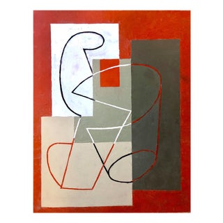 "Jeremy Annear ""Breaking Contour (Red Square) II"", Painting For Sale"
