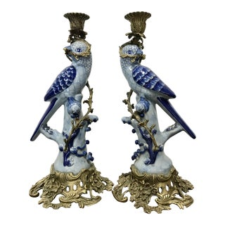 Ornate Brass Base and Ormolu Porcelain Bird Figure Candlesticks - a Pair For Sale