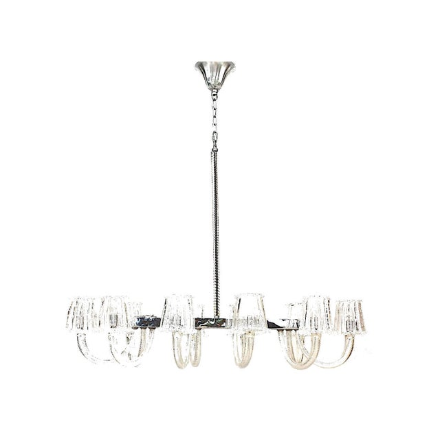 Italian 1940's Italian Murano Glass & Chrome Chandelier, Attrib. To Barovier E Toso For Sale - Image 3 of 3