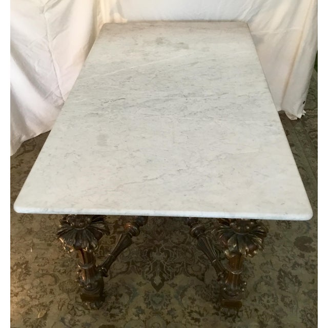 19th Century French Carved & Polychrome Table Base With Carrara Marble Top For Sale - Image 4 of 13
