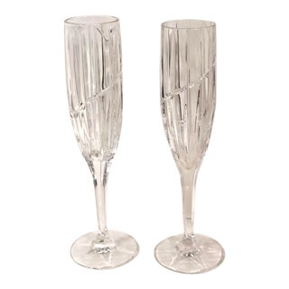 Champagne Wedding Toasting Glasses Vintage Mikasa Uptown - a Pair For Sale