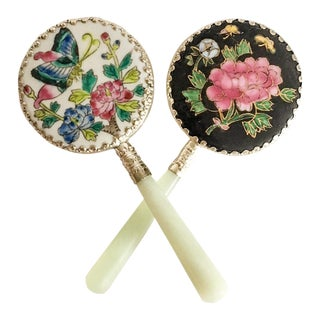 Chinese Floral Hand Mirrors, a Pair