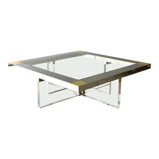 A Brass, Chrome and Lucite Coffee Table With Glass Top 1970s For Sale
