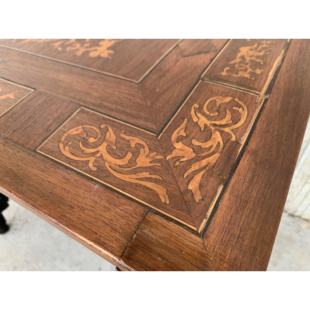 Wood 19th Century Baroque Spanish Side Table With Marquetry Top & Turned Legs For Sale - Image 7 of 13