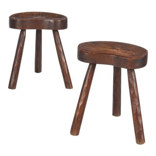 Pair of French Country Ashwood Stools, 1950s