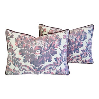 "Designer Italian Fortuny Vivaldi Feather/Down Pillows 23"" x 17"" - A Pair For Sale"