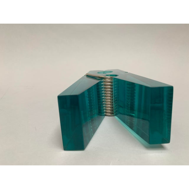 Oversized Teal Lucite Clothespin Paperweight or Paper Holder For Sale - Image 9 of 13