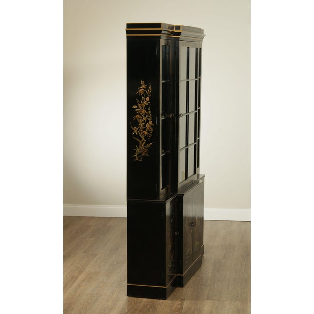 Drexel Heritage Et Cetera Black & Gold Asian Chinoiserie Breakfront For Sale In Philadelphia - Image 6 of 13