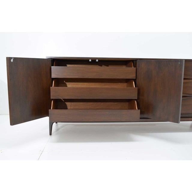 Mid-Century Modern Walnut Sculpted Sideboard For Sale - Image 9 of 11