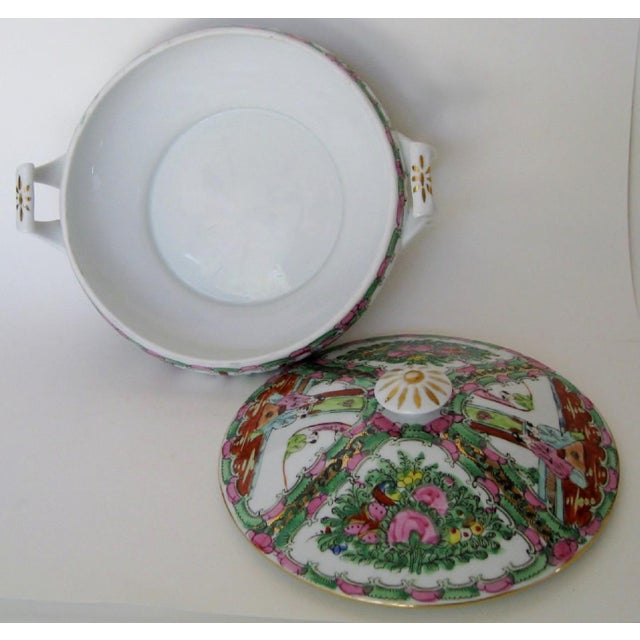 Late 20th Century Vintage Rose Medallion Tureen For Sale - Image 5 of 7