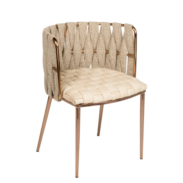 Modern Milano Off White and Gold Dining Chair For Sale - Image 4 of 6