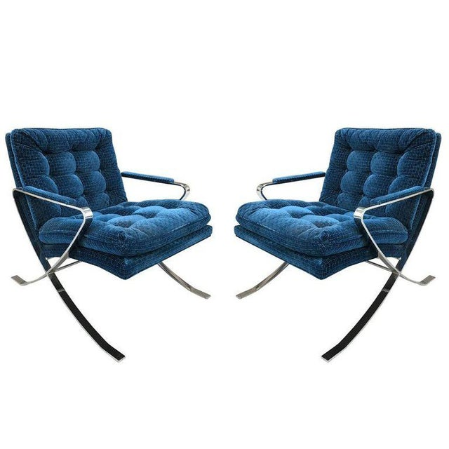 Mid-Century Modern Pair of Flat Bar Steel Chrome Lounge Chairs For Sale - Image 3 of 3