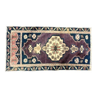 Vintage Distressed Turkish Handmade Purple Rug For Sale