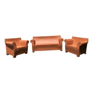 Philippe Stark for Kartell Brick Red Outdoor Bubble Sofa & Chairs - Set of 3